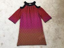 MISSONI Orange/Pink/Red Ombre Cold Shoulder Honeycomb Knit Dress size IT40 UK8