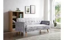 NEW Beautiful Bedroom Lounge Flat Grey Crushed Velvet Fabric 3 Seater Sofa Bed