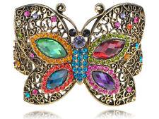 Vintage Crystal Rhinestone Colorful Bead Butterfly Bracelet Bangle Cuff Jewelry