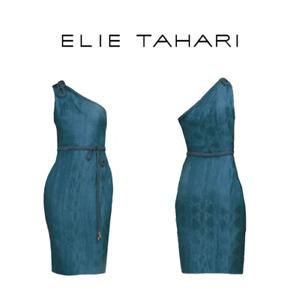 $498 Elie Tahari Keaton Jacquard One Shoulder Belted Cocktail Dress NWT 8
