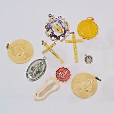 Vintage Catholic Religious Medals Cross Lot Church Relics