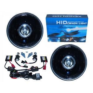 """7"""" Black Projector Crystal Clear Headlight Lamp H4 6000K 6K HID Light Bulb Pair"""
