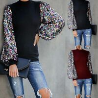 Tops Puff Long Sleeve Casual Womens Pullover Sweater Sequin Blouse