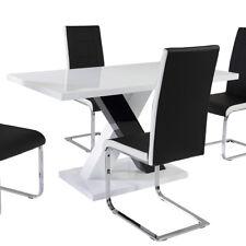 Esstisch Xenia Tisch in schwarz und weiiß Hochglanz lackiertes MDF 140x80 cm