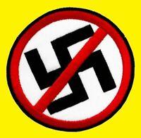 Anti Nazi gestickter Aufnäher Embroidered Patch Rund Neu!