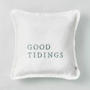 "Hearth and Hand Magnolia Cream Pillow Green Embroidered ""Good Tidings"" 14x14"