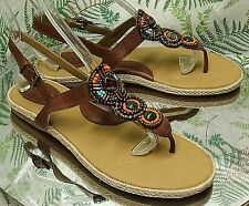 BORN BROWN COLORFUL BEADED THONG TOE ANKLE STRAP SANDALS SHOES US WOMENS SZ 9 M
