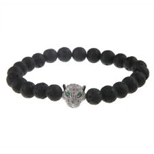 Stone/Scrub Beaded Bracelet Gift Jewelry Unisex Crystal Leopard Charm Black Lava