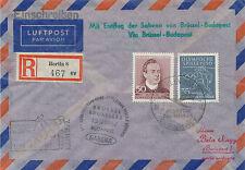 "DDR 1957 Erstflug Sabena ""BRÜSSEL – BUDAPEST"", extrem selt. MITLÄUFERPOST"