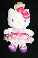 "HELLO KITTY Princess 6"" Plush Soft Toy Stuffed White Crown Purple Eyes Sanrio"