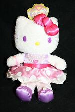 "HELLO KITTY Princess 6"" Soft Toy Stuffed White Plush Crown Purple Eyes Sanrio"