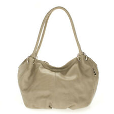 Cosette Italian Made Dove Gray Soft Leather Slouchy Designer Hobo Shoulder Bag