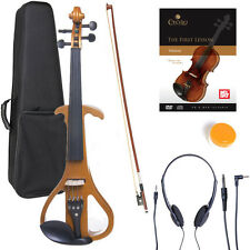 NEW 4/4 Ebony Electric Violin w/Pickup-Yellow,Style-4