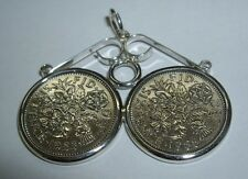 Sterling Silver 6d Lucky Sixpence Double Coin Mount Bezel Pendant Any Dates UK