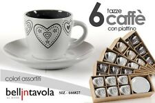 SET 6 TAZZINE CAFFE' CON PIATTINO TONDO DECORATE CUORE SIZ-666827