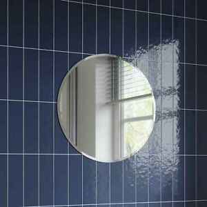 Plain Bathroom Mirror Round Modern Frameless Bevelled Wall Mounted 500 x 500mm