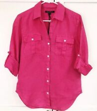 NWT Tommy Bahama 100% Linen Button Down Long Sleeve Hot Pink Top Sz XXS