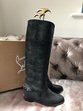 Christian Louboutin Cate Knee High Low Heel Black Suede Boots Size Uk 2 Eu 35