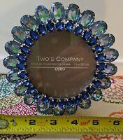 Two's Company Rhinestone Jeweled Metal Picture Photo Frame blue