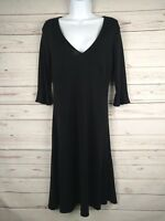 Banana Republic V Neck 3/4 Bell Sleeved Black A Line Dress Size XS