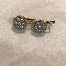 Russian Vintage Rose Gold & White Gold Earring with CZ Fianit Stones USSR