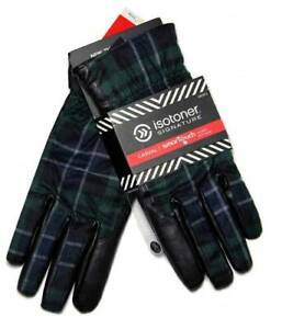 Isotoner Smartouch Gloves Plaid Green Black Gray Navy Size Large