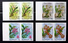 St VINCENT Flowers (4) Imperf U/M Marginal Pairs Error Variety NC267