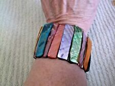 Abalone Stretch Bracelet -Assorted Dyed Colored Pieces