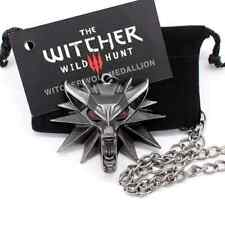 the witcher 3 pendant necklace wolf head necklace 1 bag 1 card original style2