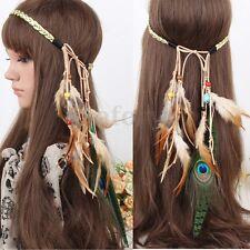 Festival Bohemia Peacock Feather Headband Boho Gypsy Headdress Hippie Hairband