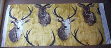 HILL HOUSE DESIGN, OCHRE STAGS HEAD FABRIC, 152 x 65 cm, New