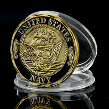 Antike Gold überzogen Marine Seemann Gedenkmünze Sammlung Memorial Münzen