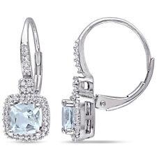 AMOUR 10k White Gold Aquamarine and Diamond Halo Leverback Earrings
