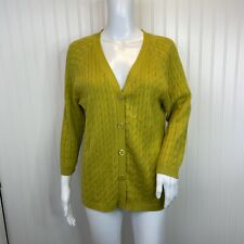 Talbots Size Large Cardigan Sweater Green Lightweight Cotton Cable Knit