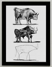 Pablo Picasso The Bull print art paper, framed, giclee 6.8X8.8 art poster