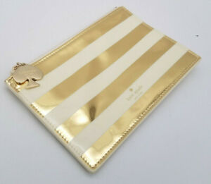 "Kate Spade New York Gold Stripe Pencil Pouch Wristlet Pouch Zippered 8.5"" x 5.5"""
