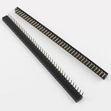 50Pcs 40Pin 2.54mm Hembra Redondo Oro Plateado una fila recto Pin Encabezado