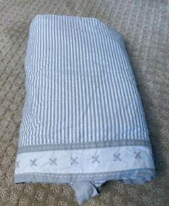Pottery Barn Kid Crib Bedskirt Gray White Striped Gender Neutral Organic Morgan