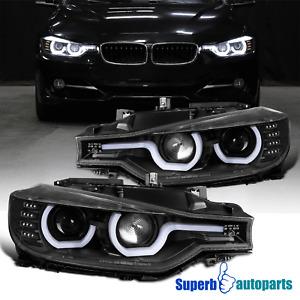 For 2012-2015 BMW F30 3-Series Black LED Signal U-Halo Ring Projector Headlights