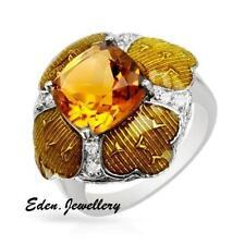 US$470 November Birthstone Ring Genuine Citrine Cubic Zirconia Sterling Silver