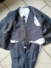 Costume 5 Pièces 4 ans Enfant Garçon gris cravate veste chemise gilet neuf
