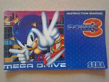 Sonic 3 Manual - Sega Mega Drive, NO GAME MANUAL ONLY