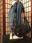 F by Fortuna for Valentino Black Genuine Leather Shoulder Bag Handbag Purse