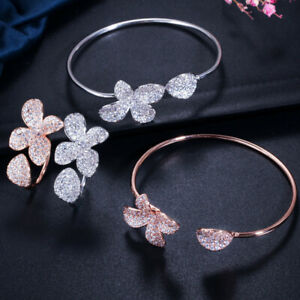 Woman Flower Jewelry Set Rose Gold Plated Silver Bangle Bracelet Adjustable Ring