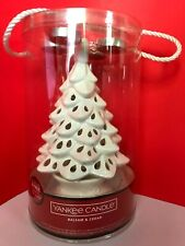 YANKEE CANDLE WHITE CHRISTMAS TREE LUMINARY TEA LIGHT HOLDER ~ BALSAM & CEDAR