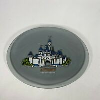 VINTAGE WALT DISNEY PRODUCTIONS Disneyland PRINCESS Castle Gray Glass Plate RARE