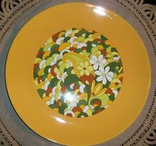 """Retro 1960's Peter Max Style Funky Flower Power  12"""" Round Serving Plate"""