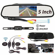 "Wireless 5""HD Car Mirror Monitor DVR+Nightvision Rear View Backup Camera Parking"
