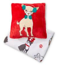 2 PCS KMART PILLOW AND  50 X 60 THROW SET VELVET PLUSH SET RED WHITE DOG PUPPY