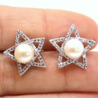 Round Pearl Star Diamond Stud Earrings Women Jewelry Gift 14K White Gold Plated